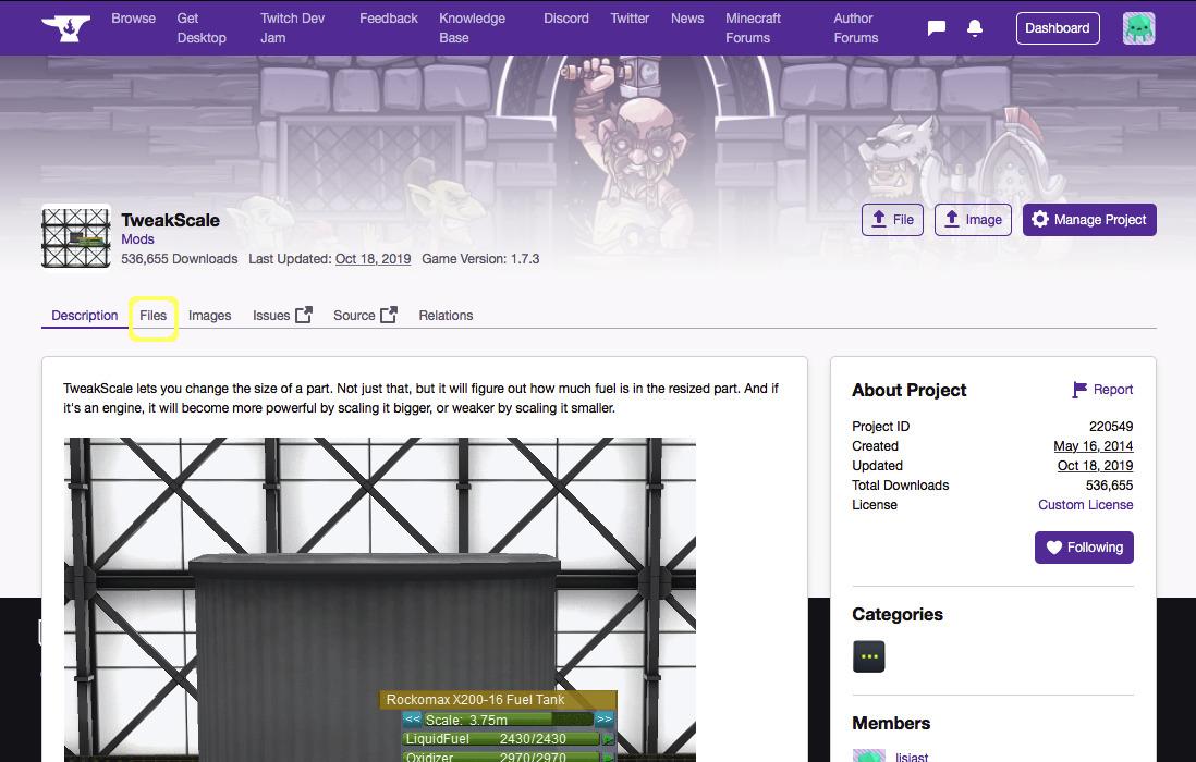 CurseForge TweakScale Main Page